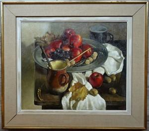 André CHARIGNY - Peinture - Nature morte au plateau de pommes rouges