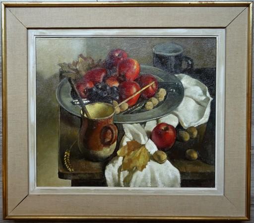 André CHARIGNY - Painting - Nature morte au plateau de pommes rouges