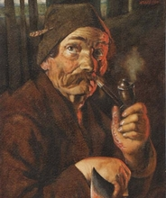 "Franz Xaver WÖLFLE - Dibujo Acuarela - ""Bavarian Peasant"" by Franz X. Woelfle, ca 1920"