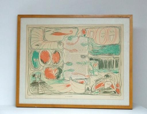 Pierre ALECHINSKY - Stampa-Multiplo - Placards – Pour Claude Simon, 1975