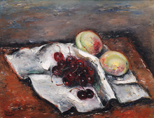 Reuven RUBIN - Peinture - Still Life with Cherries and Peaches