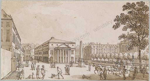 """Lancelot Théodore TURPIN DE CRISSÉ - Dibujo Acuarela - """"Street Scene"""", Ink Drawing"""