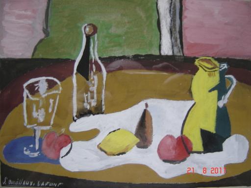 Serge BOUILLOUX-LAFONT - Drawing-Watercolor - MAGNIFIQUENATURE MORTE CUBISTE SIGNEE-