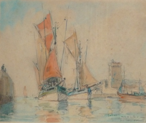 Robert LAROCHE - Drawing-Watercolor - les sables -d olonne