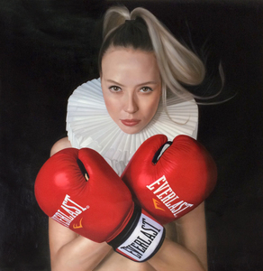 Frank E. HOLLYWOOD - Peinture - Little Boxer Girl