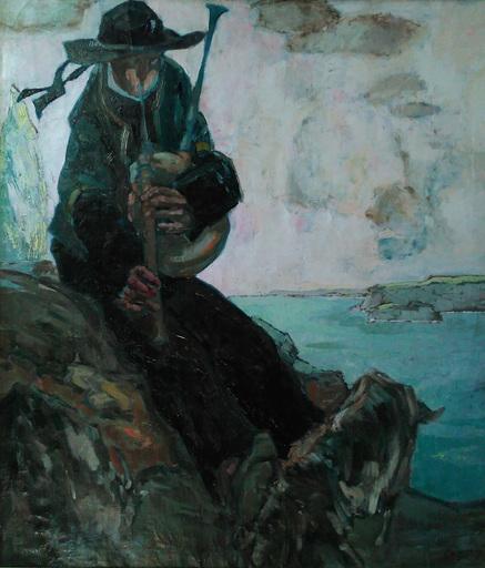 Paul Auguste MASUI - Pittura - le sonneur, ou joueur de biniou