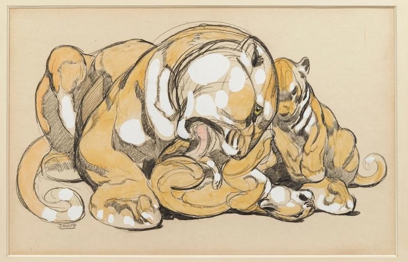 Paul JOUVE - Dibujo Acuarela - Jeux de lionne