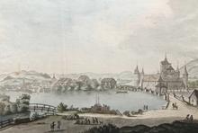 Johann Ludwig ABERLI - Dibujo Acuarela - Nidau am Bieler See im Kanton Bern