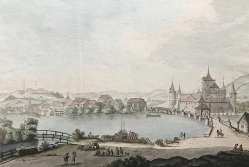 Johann Ludwig ABERLI - Dessin-Aquarelle - Nidau am Bieler See im Kanton Bern