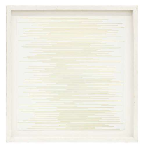 Sol LEWITT - Zeichnung Aquarell - Straight parallel lines of random length not touching sides