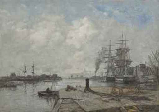 Eugène BOUDIN - Painting - Boulogne-sur-Mer, le port