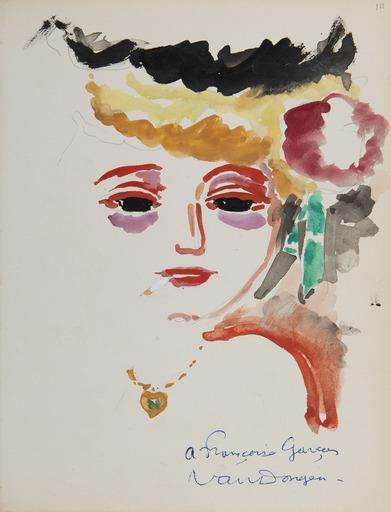 Kees VAN DONGEN - Drawing-Watercolor - Portrait de femme à la cigarette