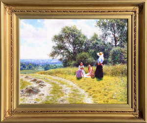 Tony SHEATH - Peinture - Picnic in a Hayfield
