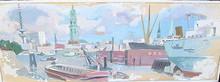 Erich HARTMANN - Dessin-Aquarelle - Hamburg Panorama von der Elbe aus.