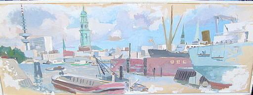 Erich HARTMANN - Disegno Acquarello - Hamburg Panorama von der Elbe aus.
