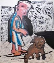 卡尔-阿佩尔 - 绘画 - Woman with Dog
