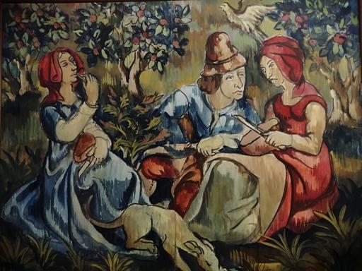 Edmond Amédée MELOT - Pintura - Conversation champêtre