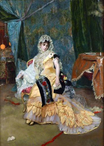 Rogelio EGUSQUIZA Y BARRENA - Gemälde - Lady In Yellow
