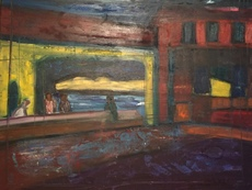 Christian DURIAUD - Peinture - Bar de nuit  (Hommage à Hopper)