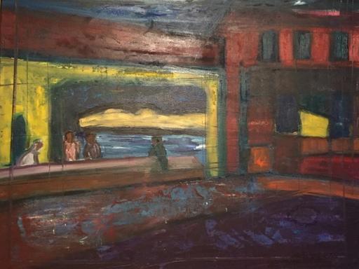 Christian DURIAUD - Pintura - Bar de nuit  (Hommage à Hopper)