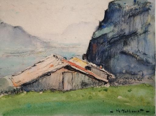 Charles MATHONAT - 水彩作品 - Paysage de montagne