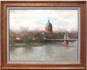 Jean-Jacques CORNEILLE - Painting - Le pont suspendu Saint Pierre à Toulouse