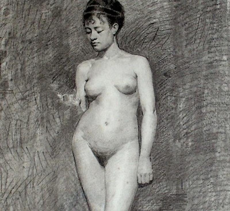 Ulpiano CHECA Y SANZ - Drawing-Watercolor - Nu  -   Desnudo - Academie