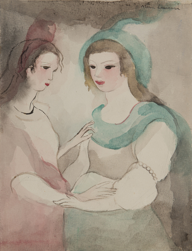 Marie LAURENCIN - Drawing-Watercolor - Les deux amies