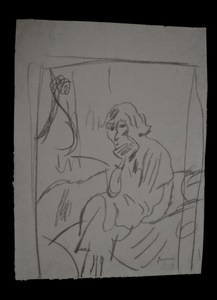 Jules PASCIN - Dibujo Acuarela - Hermine David pensive