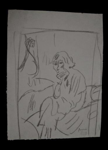 Jules PASCIN - Disegno Acquarello - Hermine David pensive