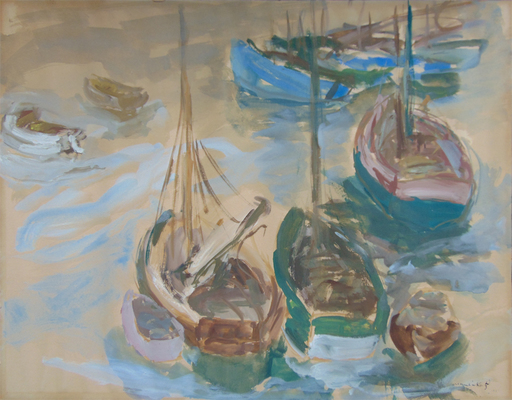 MANÉ-KATZ - Drawing-Watercolor - Boats in the Harbour