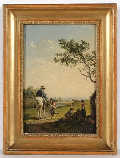 """Gemälde - """"Road Scene"""", Oil on Panel"""