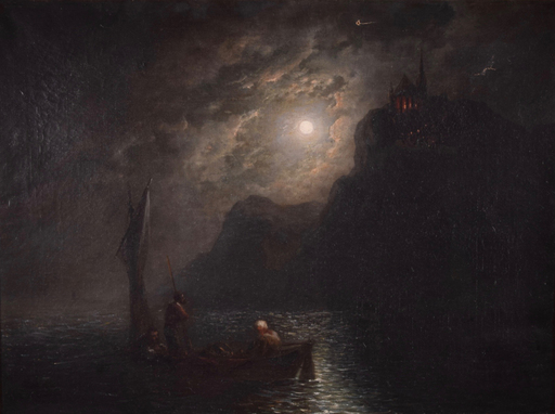 Karl Friedrich C. WELSCH - Painting - Untitled (Full Moon in the Water with Figures)