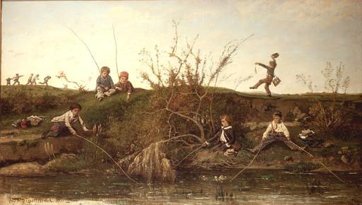 Henri Joseph HARPIGNIES - Gemälde - L'ECOLE BUISSONNIÈRE