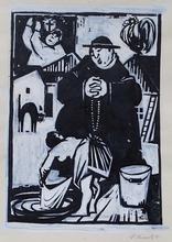 """Viliam CHMEL - Disegno Acquarello - """"Priest and Laundress"""" by Viliam Chmel, 1950"""