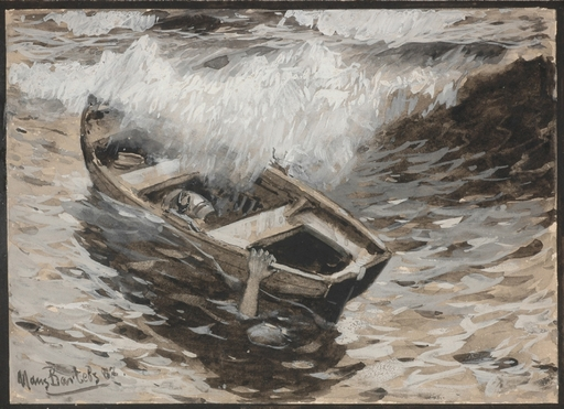 "Hans VON BARTELS - Drawing-Watercolor -  ""A boat caught in a wave"" 1887, gouache"