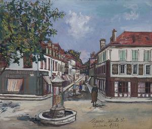 Maurice UTRILLO - Dessin-Aquarelle - La Place Saint-Pierre, Orthez