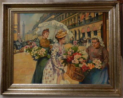 Louis Marie DE SCHRYVER - Pittura - Florist  on the street Rue de Rivoli in Paris