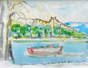 Jean-Pierre CHEVASSUS-AGNES - Dessin-Aquarelle - le Rhône à Bourg les Valence Drôme