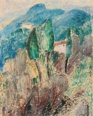 Helen DAHM - Painting - Tessinre Landschaft