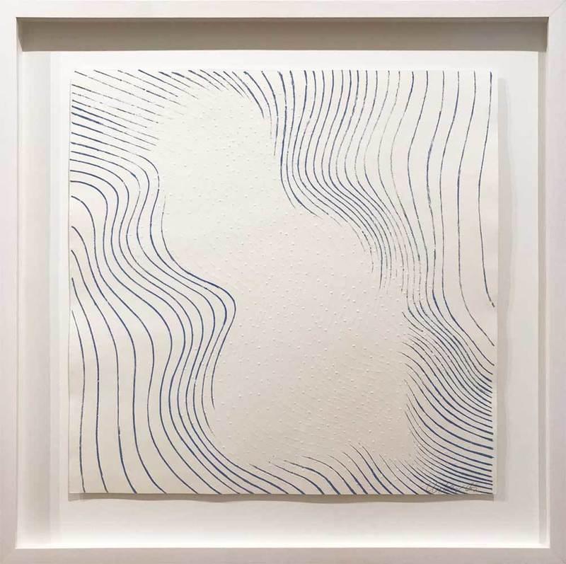 Günther UECKER - Print-Multiple - Welle blau