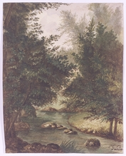 "Charles Émile Vacher DE TOURNEMINE - Drawing-Watercolor - ""Forest Stream"", Watercolor, middle 19th Century"