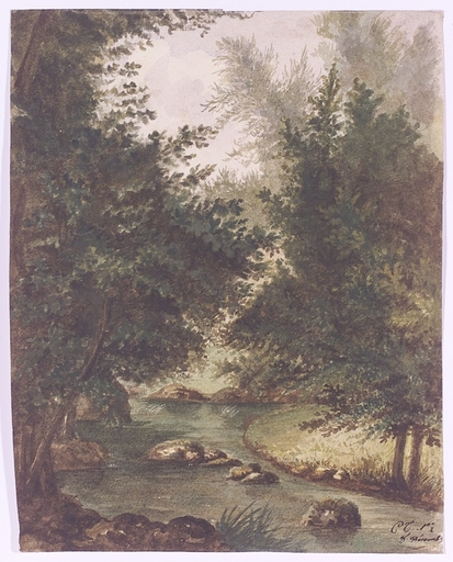"""Charles Émile Vacher DE TOURNEMINE - Disegno Acquarello - """"Forest Stream"""", Watercolor, middle 19th Century"""