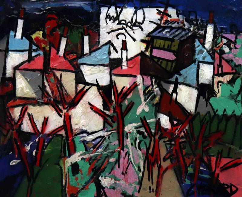 Claude VENARD - Painting - Arbres rouges à Montmartre
