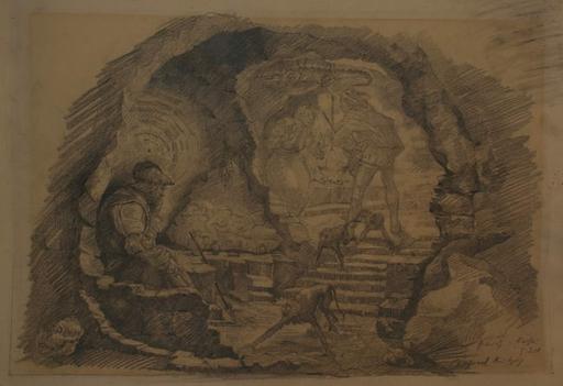 Alfred KITZIG - Dibujo Acuarela - Faust
