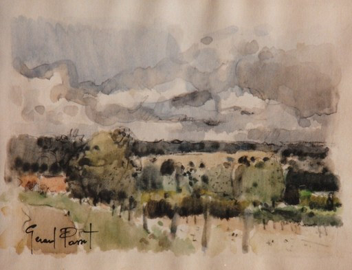 Gérard PASSET - Dibujo Acuarela - Compagne
