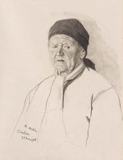 Karl MEDIZ - 水彩作品 - Alte Bäuerin