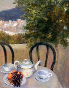 Levan URUSHADZE - Painting - Tea for two