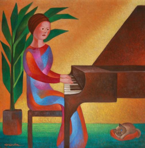 Carlos ORDUÑA BARRERA - Painting - Tocando Piano