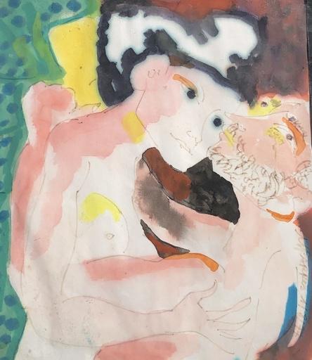Manuel PARRES - Zeichnung Aquarell - Le couple